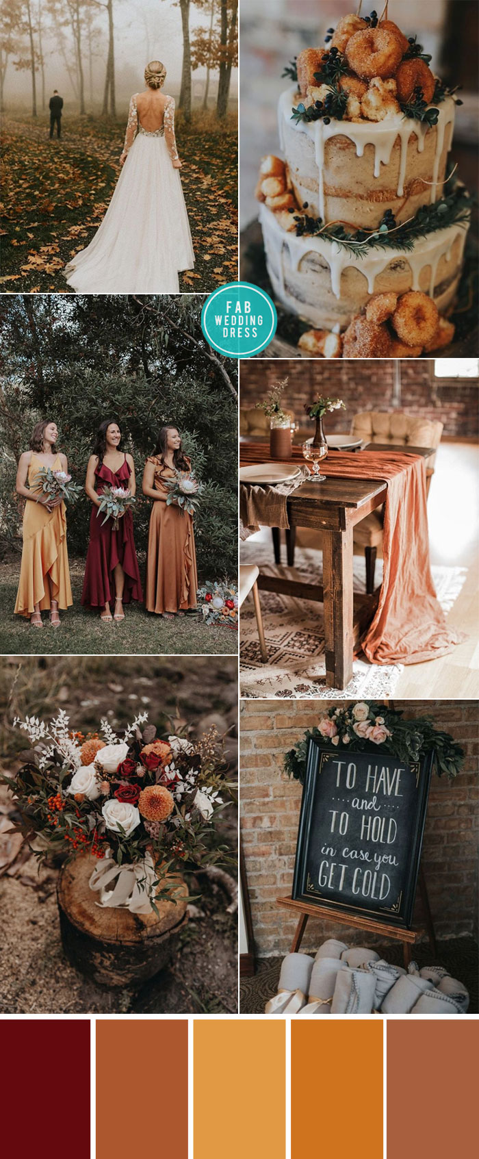 Rust Wedding Color Ideas For Cozy Fall Weddings #rust fall wedding, wedding color #weddingcolor #color #colorpalette autumn wedding color , autumn wedding color ideas #terracottawedding terracotta wedding , sunset wedding color