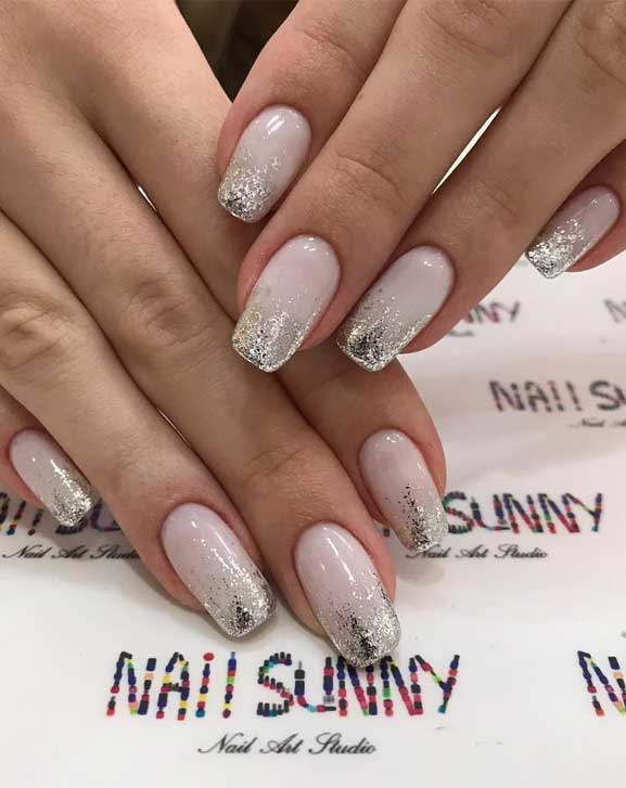 blush nail colors, blush pink nails with silver glitter, pink nails with glitter accents, glitter nails, nail art designs, best glitter nails