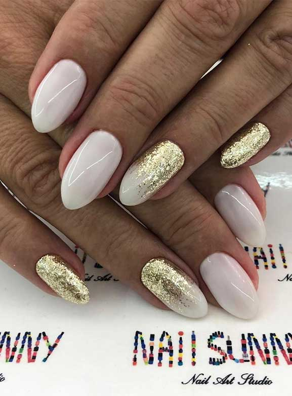 best nail art designs, white nails with glitter accents, wedding nails, glitter nails