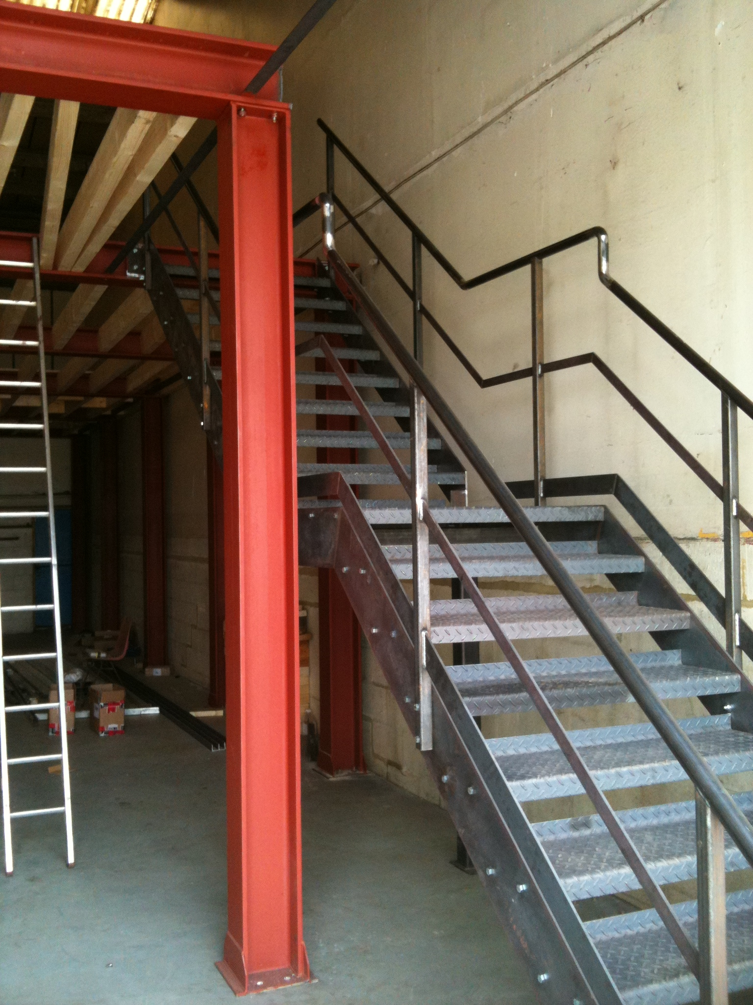 Internal Steel Staircase With Tubular Handrail And Column Support   Tubular Design For Stairs   Stainless Steel   Fully Covered Balcony Grill   Fabrication   Simple   Industrial