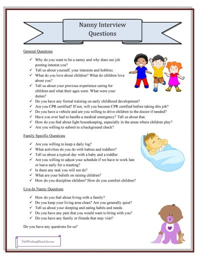 Free Nanny Printables - Nanny Interview Questions Checklist