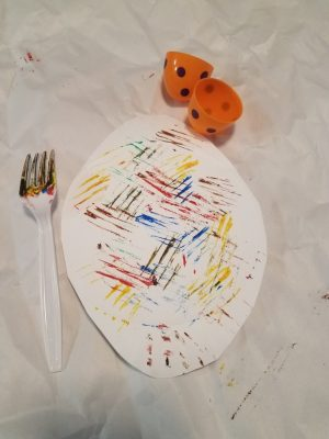 easter crafts for toddlers to make - fork painting, a fun idea for egg activities for preschoolers
