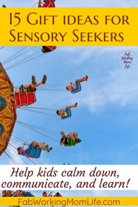 Searching for toys for sensory seekers? Check out this gift guide with 15 gift ideas for sensory seekers and sensory toys that provide Sensory Input for Hyper toddlers and preschoolers!   Fab Working Mom Life #sensory #giftideas #giftguide #adhd #vestibular #proproceptive #parenting #momadvice