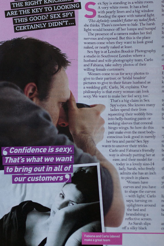 London Boudoir Photography on the pages of LoveIt Magazine April 2012