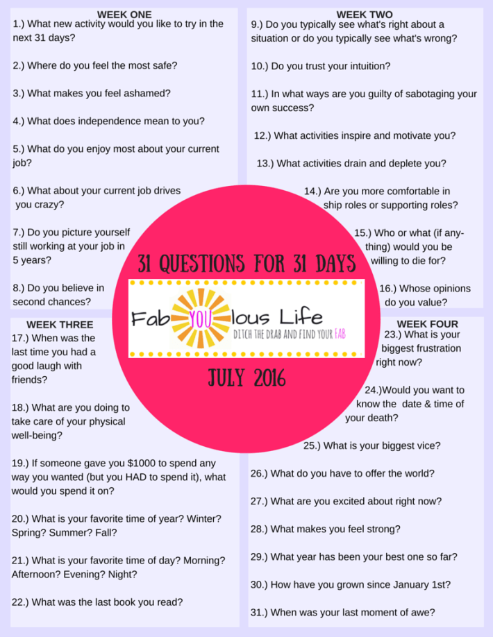 31 Questions 31 Days July