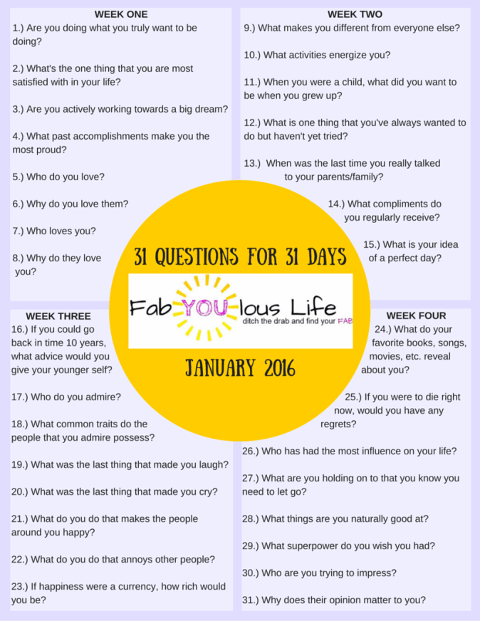 31 Questions for 31 Days