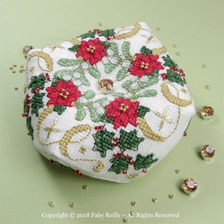 Sparkly Christmas Biscornu - Faby Reilly Designs