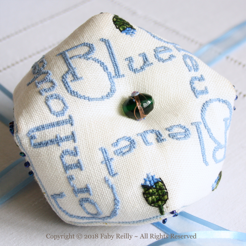 Cornflower Biscornu - Faby Reilly Designs