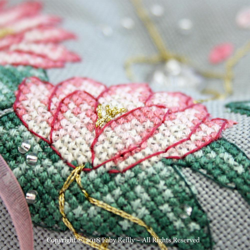 Pink Lotus Biscornu – Faby Reilly Designs