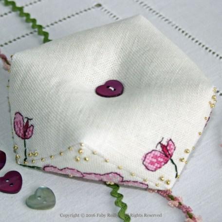 Plum Orchid Biscornu – Faby Reilly Desgins