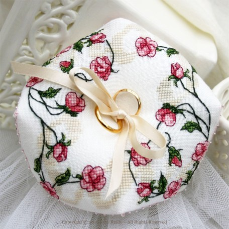 Sweet Roses Biscornu - Faby Reilly Designs