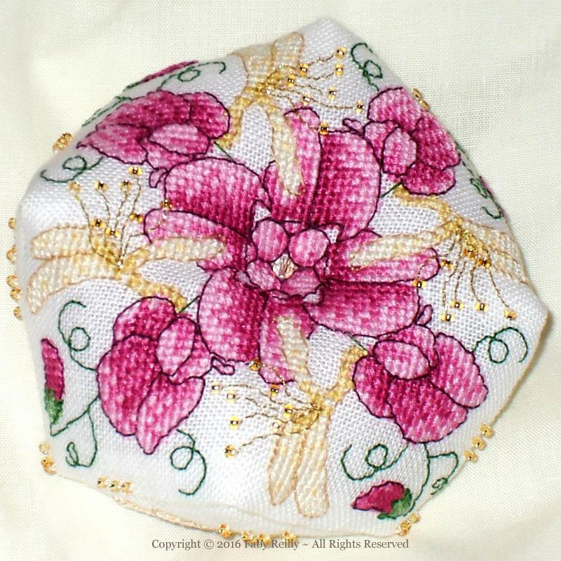 Sweet Pea Biscornu - Faby Reilly Designs