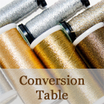 Speciality Thread Conversion Table