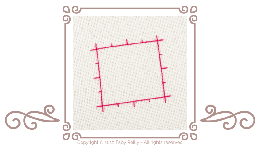 How to stitch the outline of a biscornu