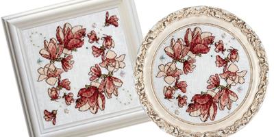 Framed Magnolia Biscornu