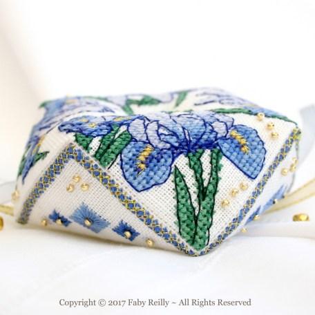 Blue Iris Biscornu – Faby Reilly Designs