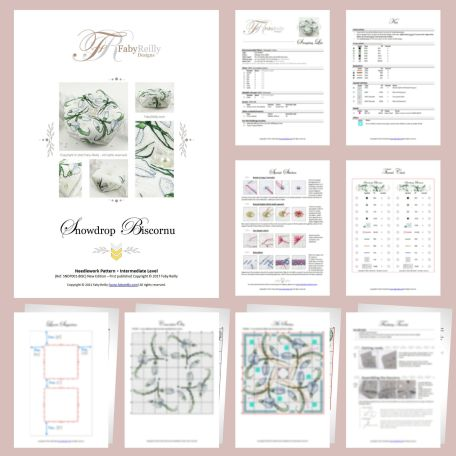 Snowdrop Biscornu Sample Pages – Faby Reilly Designs