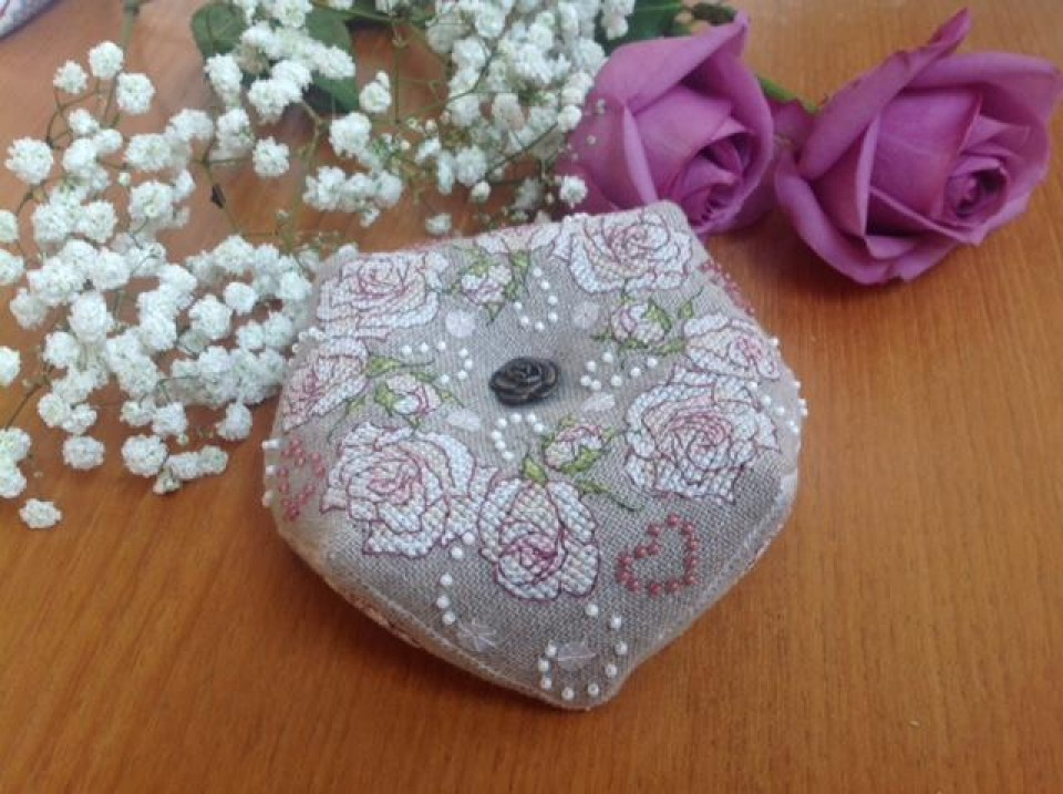 Once Upon a Rose Biscornu - stitched by Maria