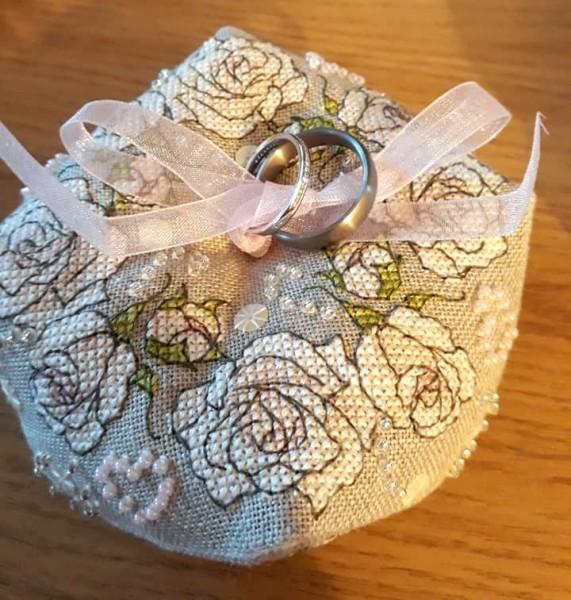 Once upon a Rose Biscornu - stitched by Liz