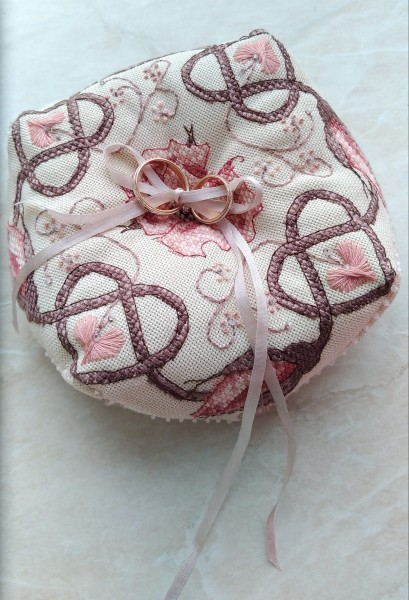 Sepia Rose Biscornu - stitched by Liubov