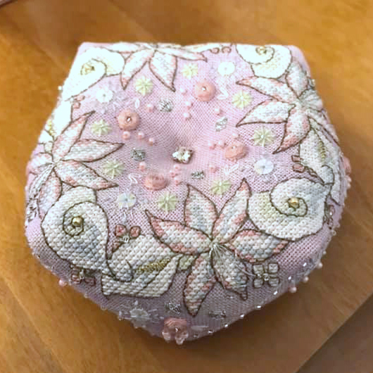 Wintry Blooms Biscornu - stitched by Alison