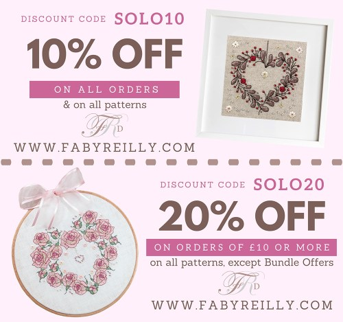 SOLO10 : 10% off any order (valid on all my patterns until 30th April 2020 - cannot be used in conjunction with other coupons, but can be used multiple times.)  SOLO20 : 20% off orders of £10 and over (valid on all my patterns except Bundle Offers. Valid until 30th April 2020 - cannot be used in conjunction with other coupons, but can be used multiple times. )