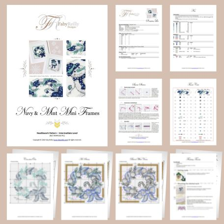 Navy and Mint Mini Frames Sample Pages (set of 2) – Faby Reilly Designs