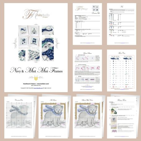 Navy and Mint Mini Frames Sample Pages (set of 4) – Faby Reilly Designs