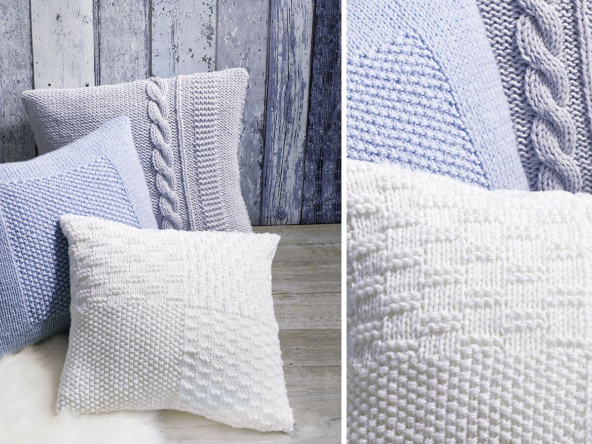 des housses de coussin a tricoter