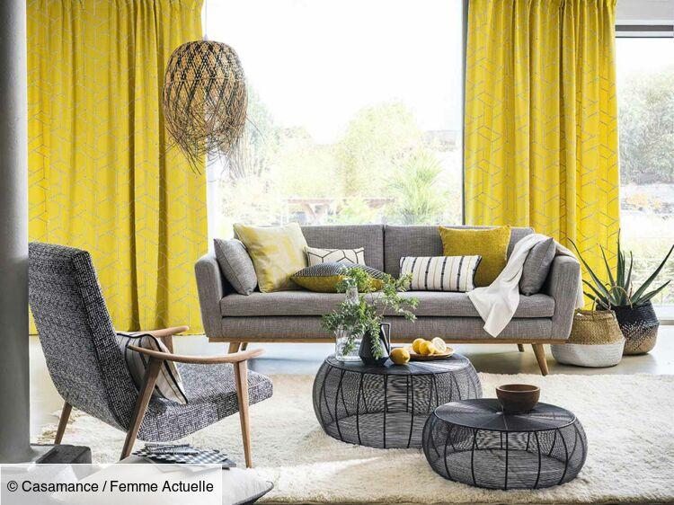 une deco de salon en jaune et gris