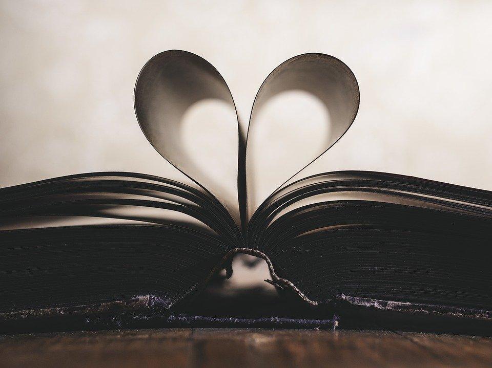 Libro con pagine a cuore.