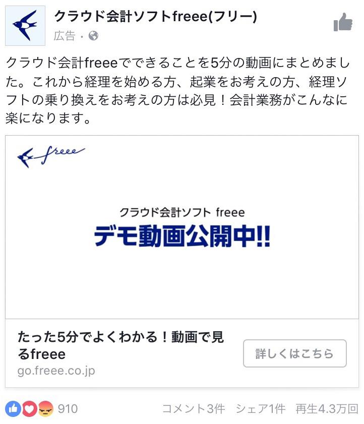 クラウド会計ソフトfreee facebook広告