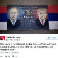 НОВИ МУРАЛ У СРБИЈИ: Путин и Трамп поручују из Београда - Косово је Србија!