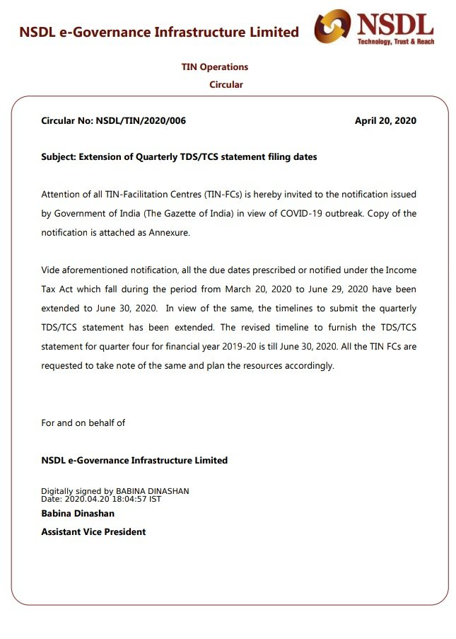 Extension of due dates for filing 4th Quarter TDS/TCS of F.Y 2019-20 till  June 30, 2020 - Faceless Compliance