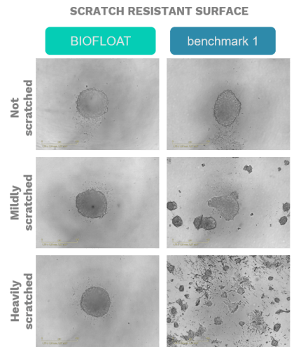 BIOFLOAT: scratch resistant surfaces for 3D cell culture