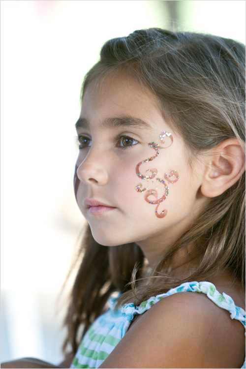 glitter swirls facepaint