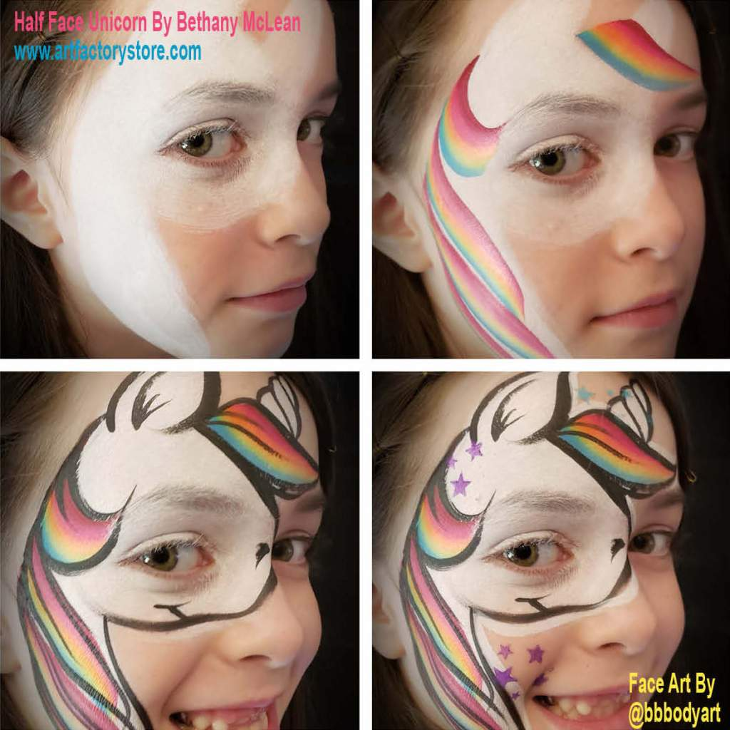 Step By Step Tutorial Half Face Unicorn