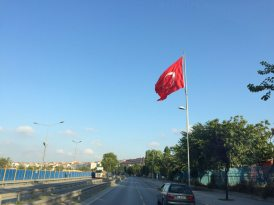 The Turkish flag on the way to the airport