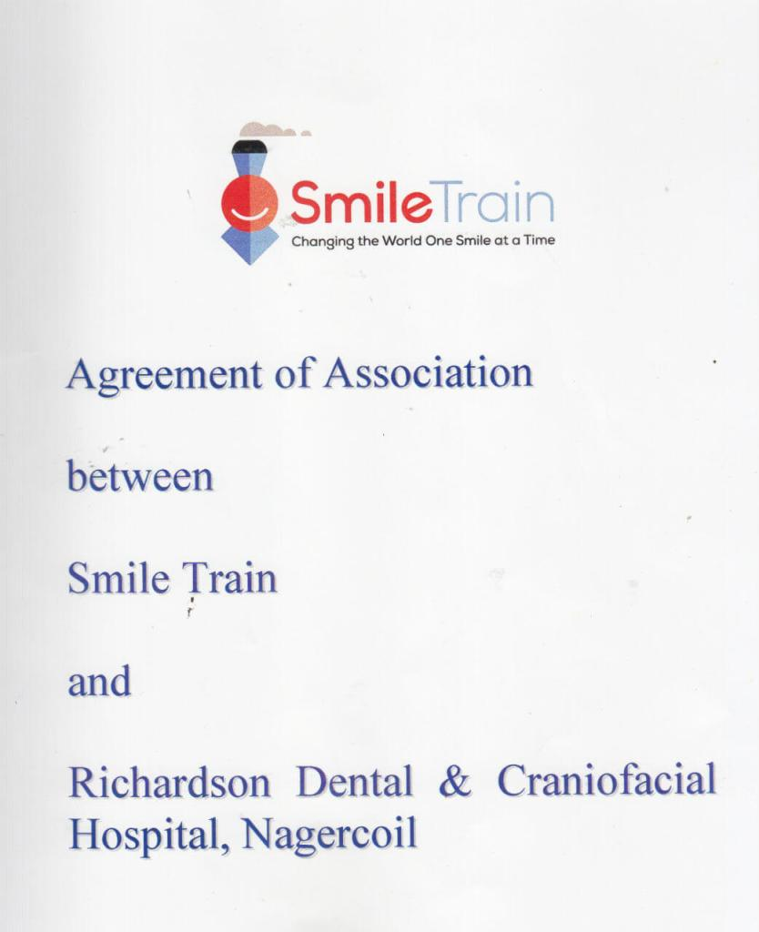 Smile Train Certificate for for Richardsons Dental and Craniofacial Hospital