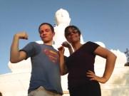 Sebby and Prairie at the White Buddha.