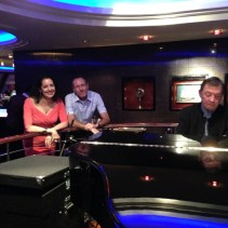 Lisa and David at the Commodore Lounge with Campbell the brilliant pianist who played Mozart as boogie woogie