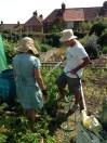 """Jane and David in their """"allotment"""" veggie garden"""