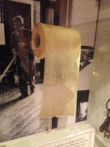 waxy toilet paper they used to use now on display in museum