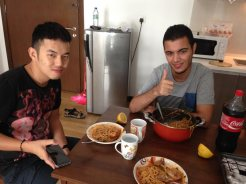Having lunch with our Libyan friend Siraj. He served spaghetti with tomato sauce and lemon, a Libyan twist.