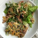 Chuan's and my quiche and kitchen sink salad.