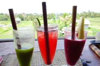Fabulous juices in Ubud. Purple haze on the right. Kambucha in the middle. Kale something on the left.