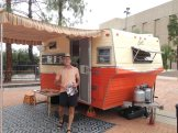 At the modernism week vintage trailer show. Can you see I'm drooling for this trailer not just bc it's perfection in a small package, but because it's ORANGE!