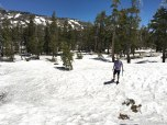 in the Sierras near Donner Pass. In the 90s and yet a ton of snow still on the ground.