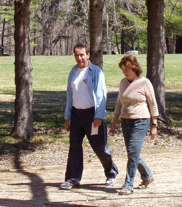 Photo of Bill and Judtih outside taking a walk.