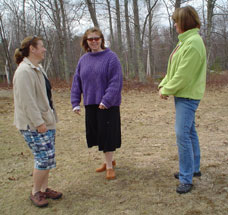Photo of Carolyn, Marcy and Kelly outside.